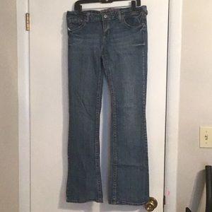 Women's blue jeans, low rise, boot cut